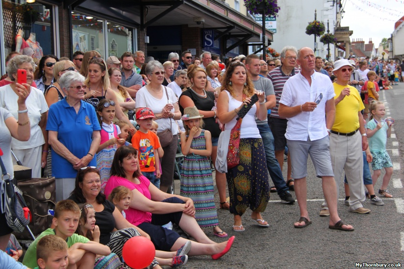Crowds lining Thornbury High Street
