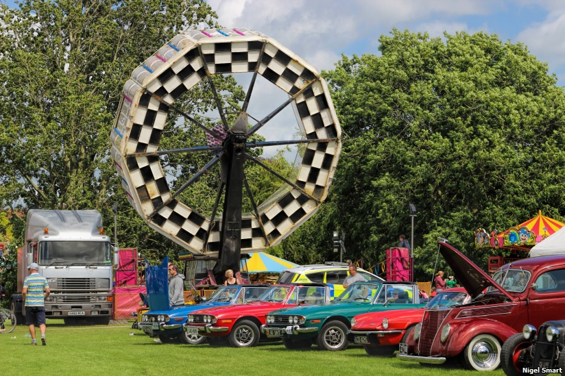 Classic cars and fairground rides