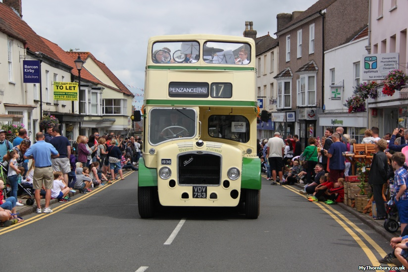 Open top vintage bus